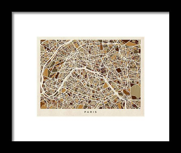 Paris Framed Print featuring the digital art Paris France Street Map by Michael Tompsett