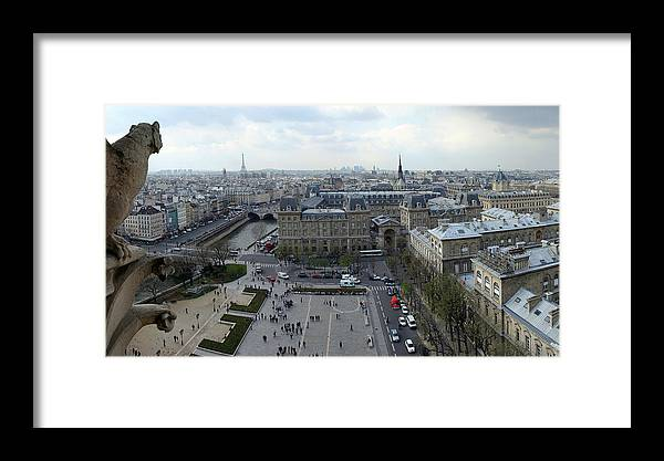 Eiffel Tower Photographs Framed Print featuring the photograph Paris From Notre Dam by Gary Lobdell