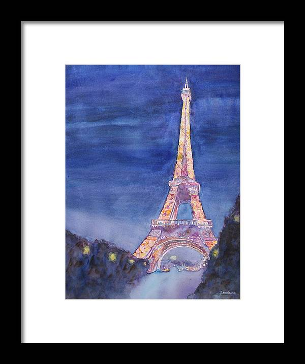 Paris Giant Watercolor Eiffel Tower Night Lighted Blue Gold Yellow Drama Dramatic Time Evening Wet Rain Rainy Dark France Framed Print featuring the painting Paris Giant by Jenny Armitage