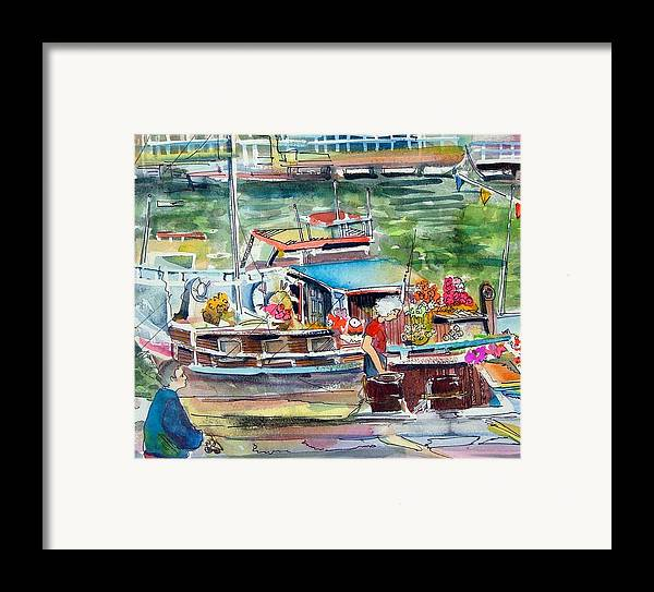 Boat Framed Print featuring the painting Paris House Boat by Mindy Newman