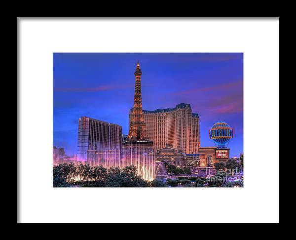 Paris Framed Print featuring the photograph Paris Las Vegas At Sunset by Eddie Yerkish