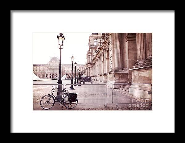 Paris Louvre Museum Architecture Framed Print featuring the photograph Paris Louvre Museum Street Lamps Bicycle Street Photo - Paris Romantic Louvre Architecture by Kathy Fornal
