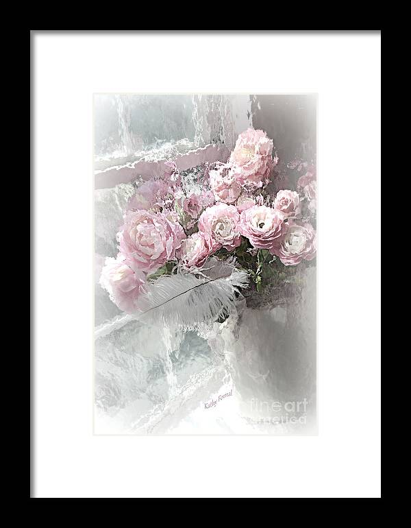 Paris Framed Print featuring the mixed media Paris Pink Impressionistic French Roses And Ranunculus - Shabby Chic Romantic Pink Flowers by Kathy Fornal