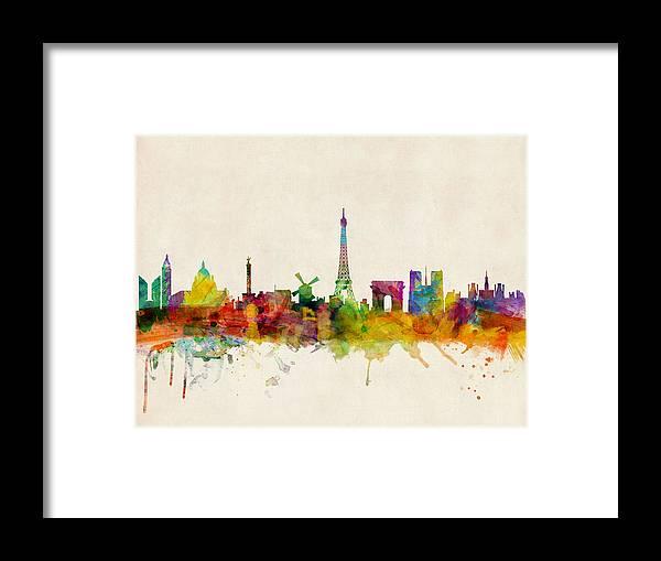 Paris Framed Print featuring the digital art Paris Skyline by Michael Tompsett