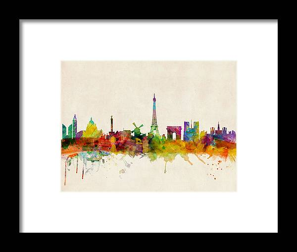 Paris Framed Print featuring the digital art Paris Skyline by Michael Tompsett