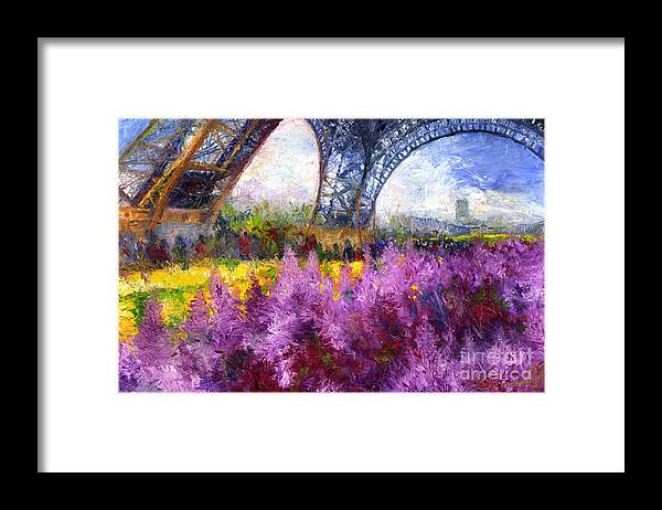 Oil Framed Print featuring the painting Paris Tour Eiffel 01 by Yuriy Shevchuk