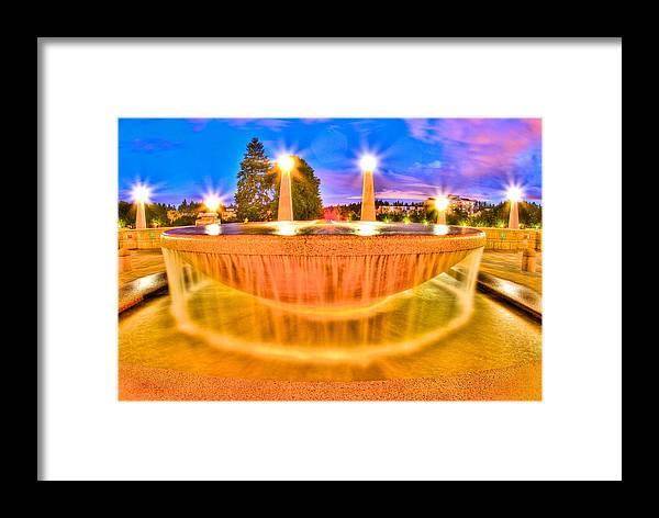 Water Framed Print featuring the photograph Park Fountain by Bryan Hildebrandt