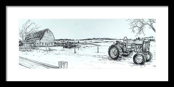 Tractor Framed Print featuring the drawing Parked Tractor by Scott Nelson