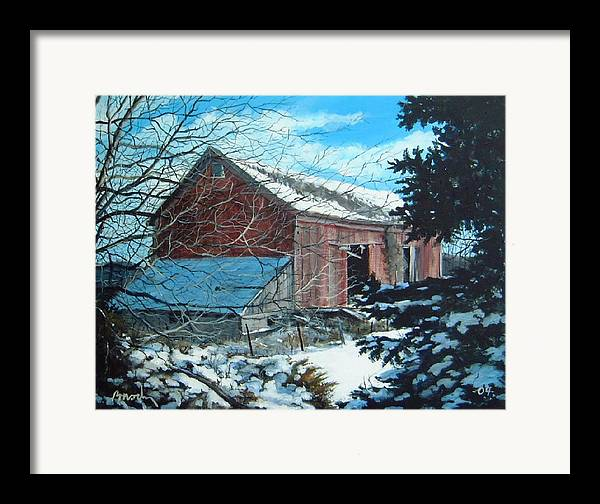 Barn Framed Print featuring the painting Parker Road Barn by William Brody