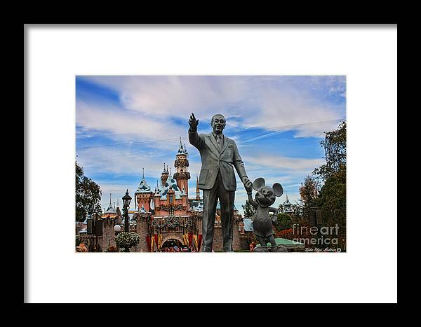 Disney Framed Print featuring the photograph Partners And The Christmas Castle by Lidia Anderson