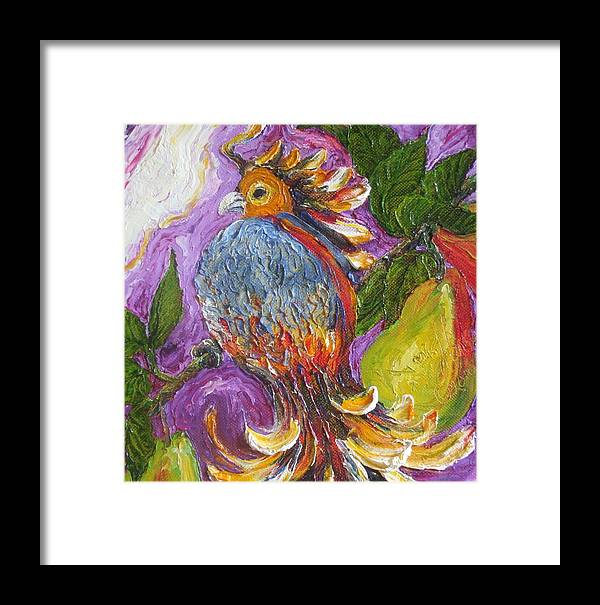Partridge Paintings Framed Print featuring the painting Partridge In A Pear Tree by Paris Wyatt Llanso
