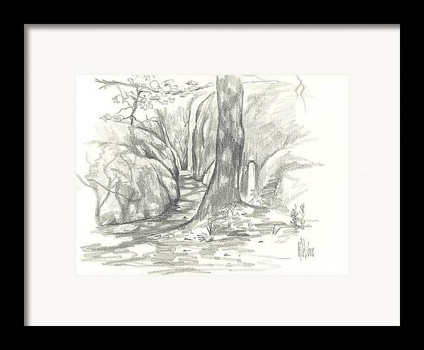 Passageway At Elephant Rocks Framed Print featuring the drawing Passageway At Elephant Rocks by Kip DeVore