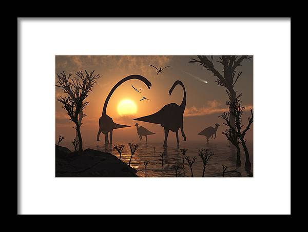Prehistoric Dinosaurs Sauropods Duckbills Hydrosaurs Herbivores Sunset Dusk Comet Evening Silhouettes Silhouetted Concept Concepts Conceptaul 3d Nature Lake Water Feeding Life Living Framed Print featuring the digital art Passing Comet. by Mark Stevenson