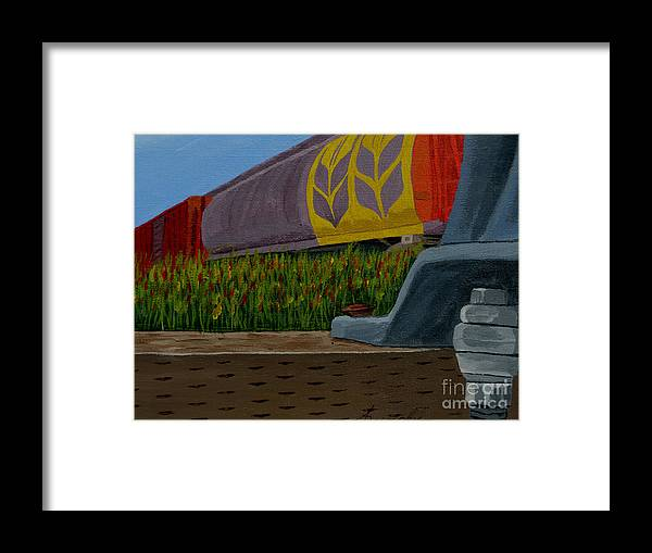 Train Framed Print featuring the painting Passing The Wild Ones by Anthony Dunphy