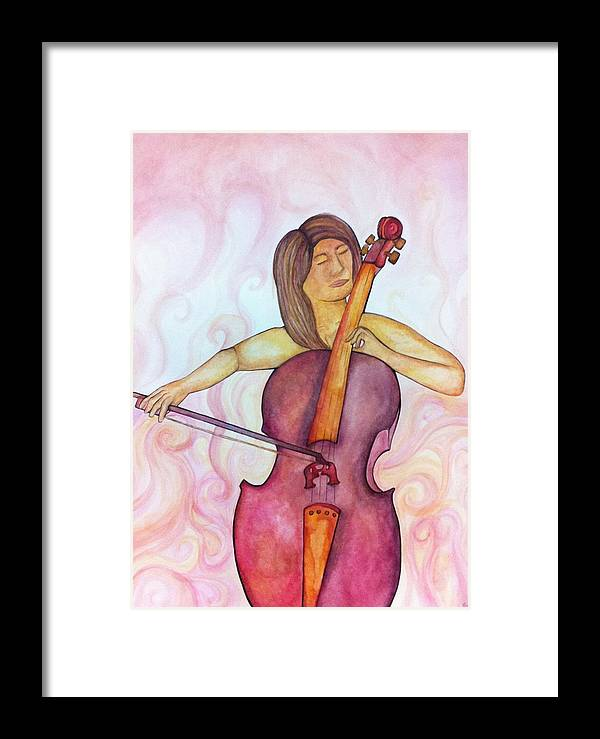 Cello Framed Print featuring the painting Passionate Cellist by Ashley Grebe