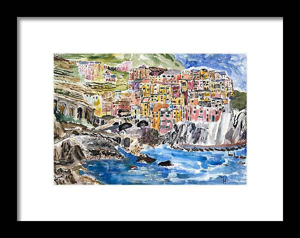 Riomaggiore Framed Print featuring the painting Pastel Patchwork Village by Michael Helfen