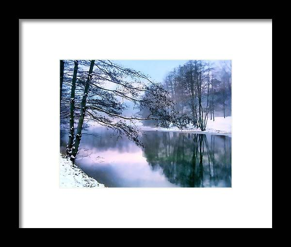 Snow Framed Print featuring the photograph Pastel Pond by Jessica Jenney