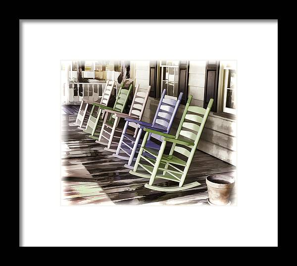 Chair Framed Print featuring the photograph Pastel Rocking Chairs by Ray Summers Photography