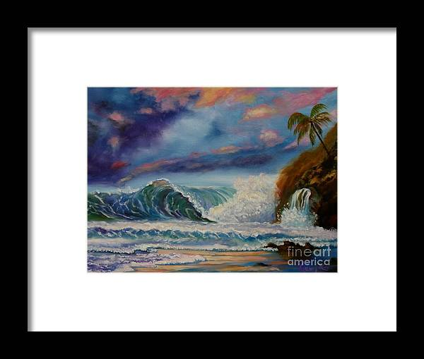 Hawaiian Sunset Framed Print featuring the painting Pastel Sunset by Jenny Lee
