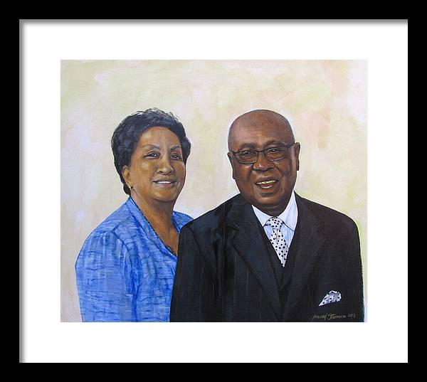 Portrait Framed Print featuring the painting Pastor Donahue and Yvonne Green by Howard Stroman