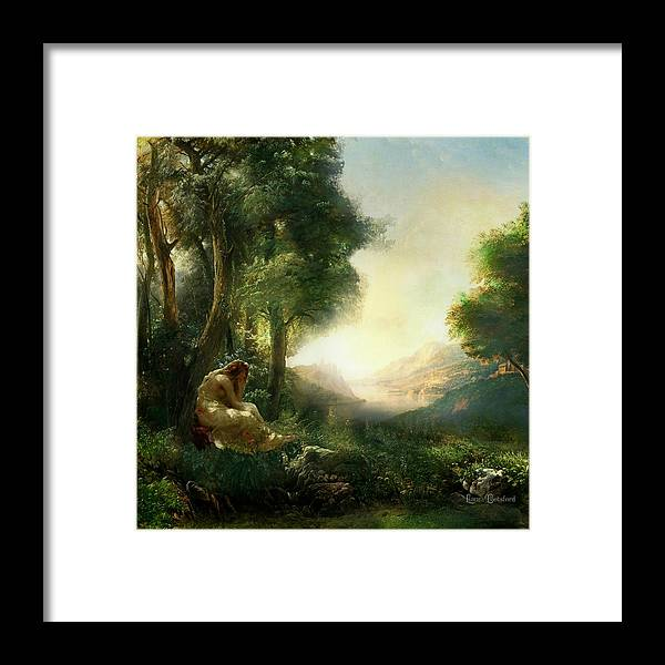 Woman Framed Print featuring the painting Pastoral Meditation by Laura Botsford