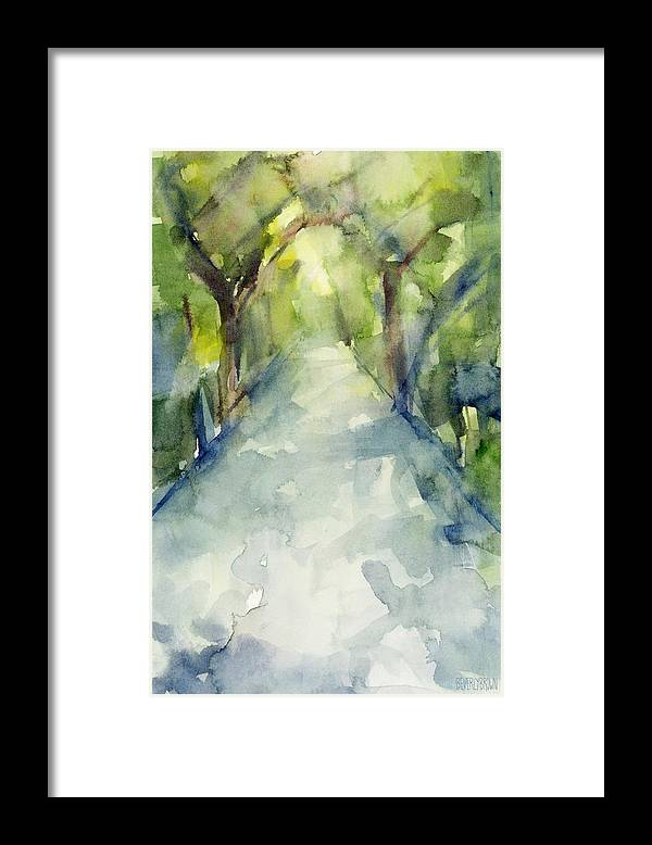 Garden Framed Print featuring the painting Path Conservatory Garden Central Park Watercolor Painting by Beverly Brown