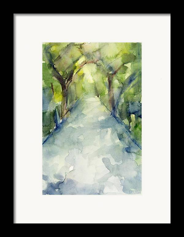 Conservatory Garden Framed Print featuring the painting Path Conservatory Garden Central Park Watercolor Painting by Beverly Brown Prints