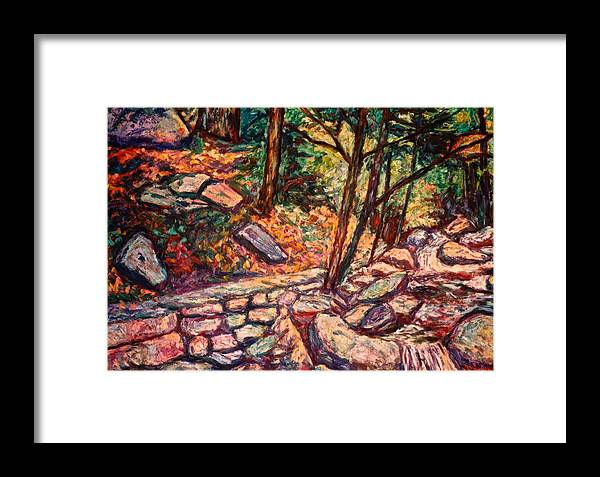 Landscape Framed Print featuring the painting Path To The Cascades by Kendall Kessler