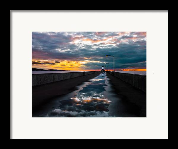 pathway To The Sun after The Rains lake Superior Sunrise reflection sunrise canal Park canal Park Lighthouse Duluth dawn On Lake Superior dawn In Canal Park wow pure Magic!greeting Cardslandscape Greeting Cards nature Greeting Cards Framed Print featuring the photograph Pathway To The Sun by Mary Amerman