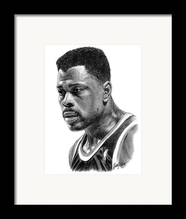 Patrick Ewing Framed Print featuring the drawing Patrick Ewing by Harry West