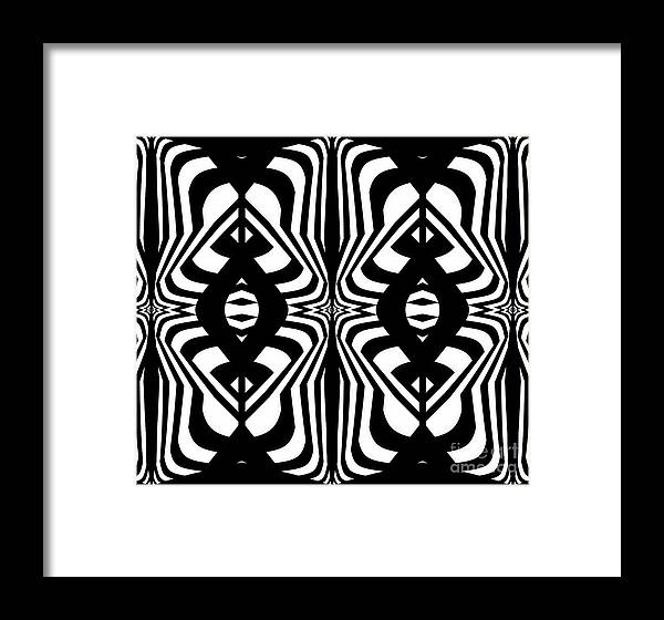 Pattern Framed Print featuring the digital art Pattern Geometric Black White Abstract Art Print No.328. by Drinka Mercep