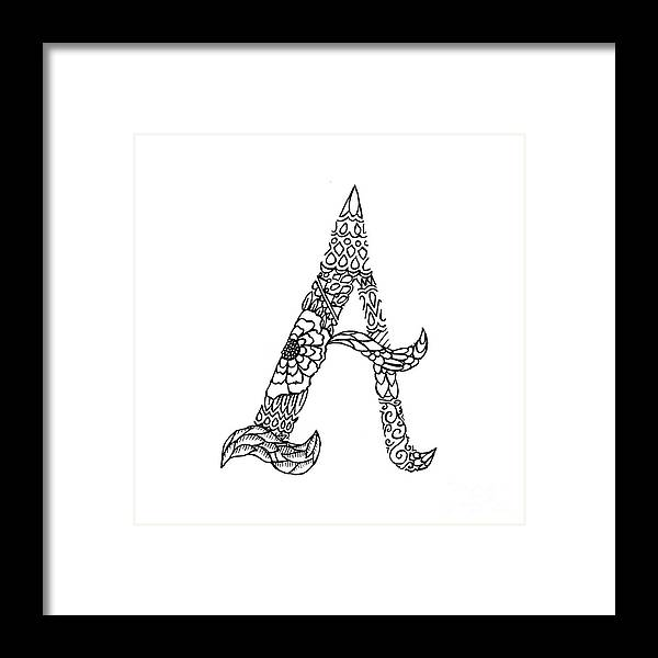 Pattern Framed Print featuring the drawing Patterned Letter A by Alyssa Zeldenrust