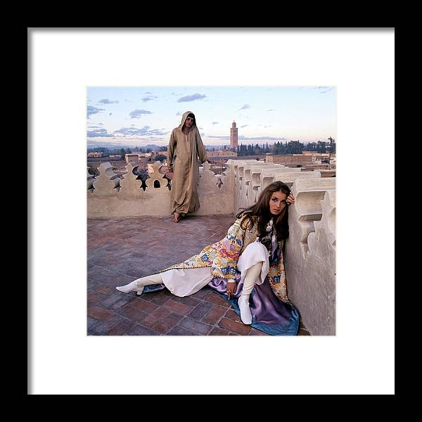 Fashion Framed Print featuring the photograph Paul Getty Jr And Talitha Getty On A Terrace by Patrick Lichfield
