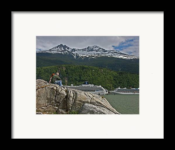 Cruise Framed Print featuring the photograph Pause In Wonder At Cruise Ships In Alaska by John Haldane