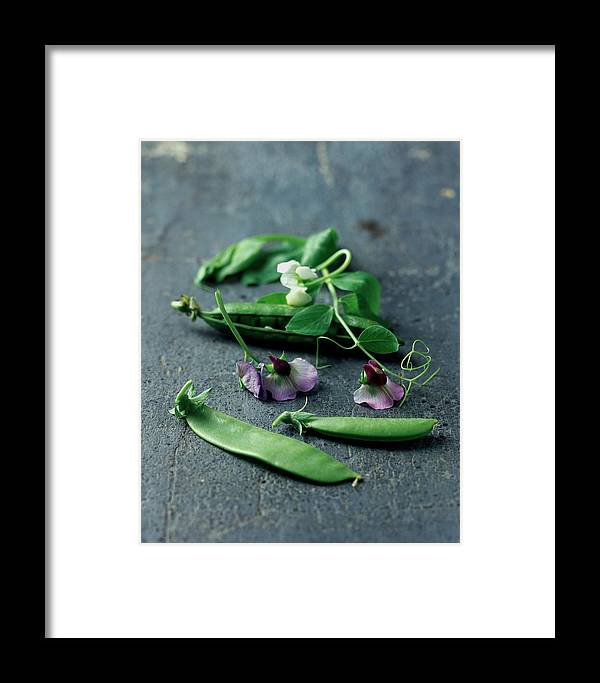 Fruits Framed Print featuring the photograph Pea Pods And Flowers by Romulo Yanes