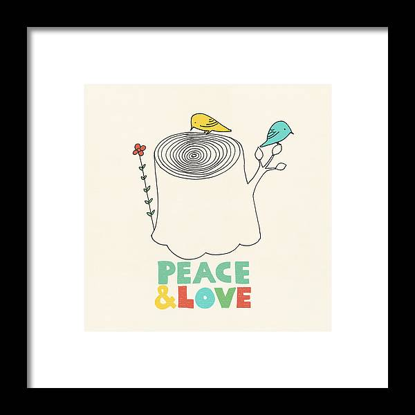 Birds Framed Print featuring the drawing Peace and Love by Eric Fan