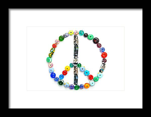Glass Framed Print featuring the photograph Peace Sign by Tom Schmucker