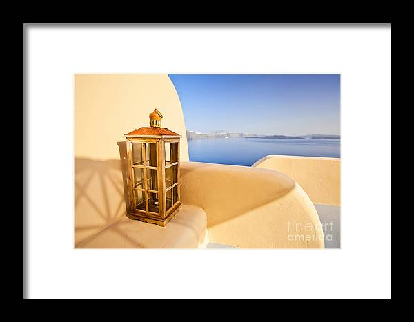Santorini Framed Print featuring the photograph Peaceful Hour by Aiolos Greek Collections