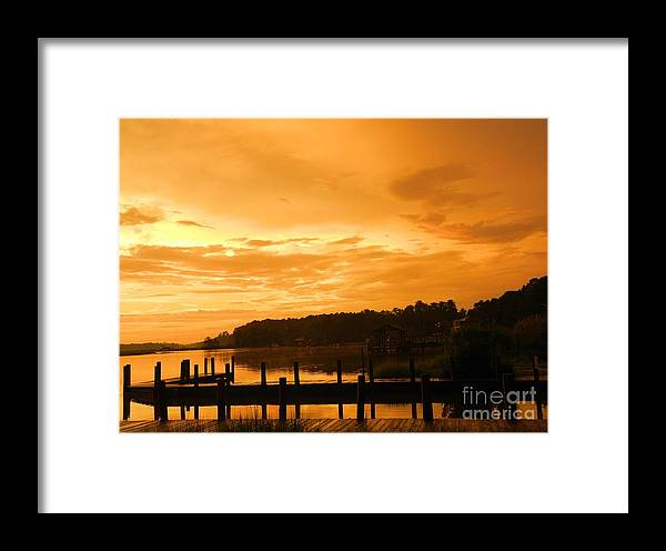 Water Framed Print featuring the photograph Peaceful Pier by Heather White