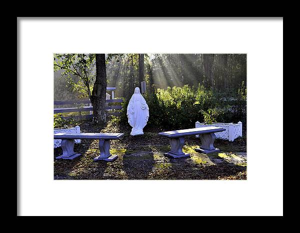 Mary Framed Print featuring the photograph Peaceful Place To Pray With Mary by Terry Sita
