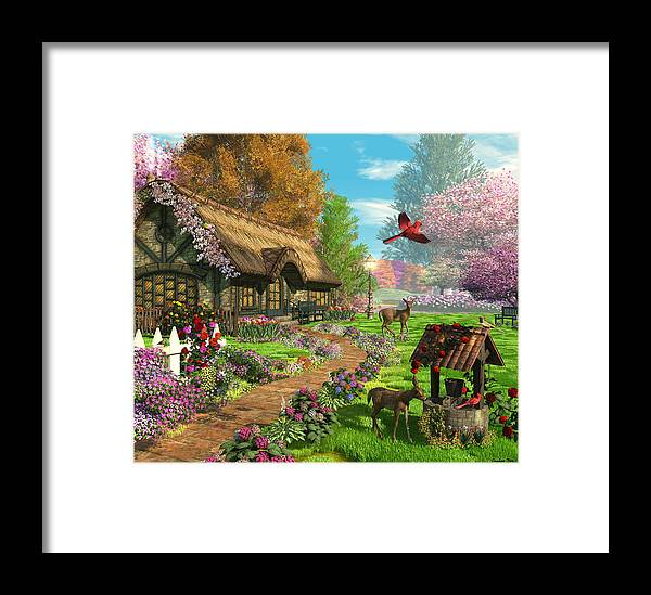 Art Licensing Framed Print featuring the mixed media Peaceful Retreat by Caplyn Dor