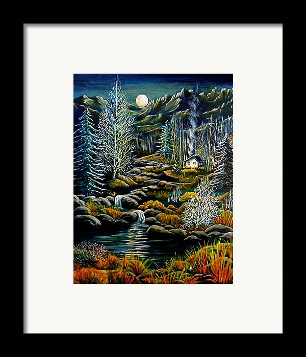 Mountains Framed Print featuring the painting Peaceful Seclusion by Diana Dearen