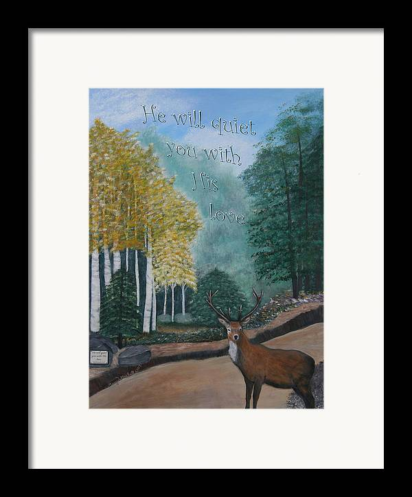 Landscape Framed Print featuring the painting Peaceful Walk by Mary Grabill