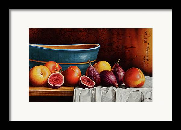 Fruit Framed Print featuring the painting Peaches And Figs by Horacio Cardozo