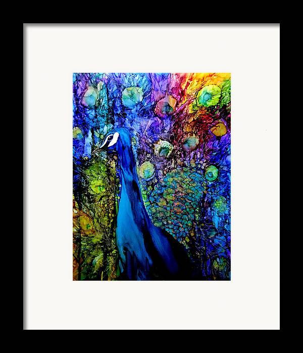 Ink Framed Print featuring the painting Peacock II by Karen Walker