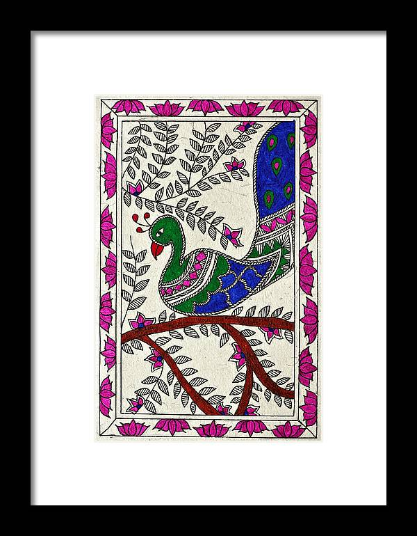 Madhubani Framed Print featuring the drawing Peacock In Bloom by Neha Dasgupta