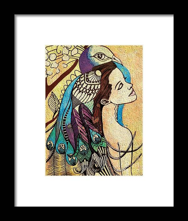 Peacock Framed Print featuring the painting Peacock Woman by Amy Sorrell