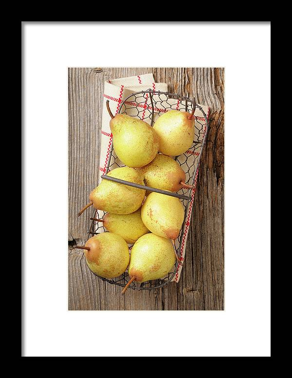 Napkin Framed Print featuring the photograph Pear by Riou