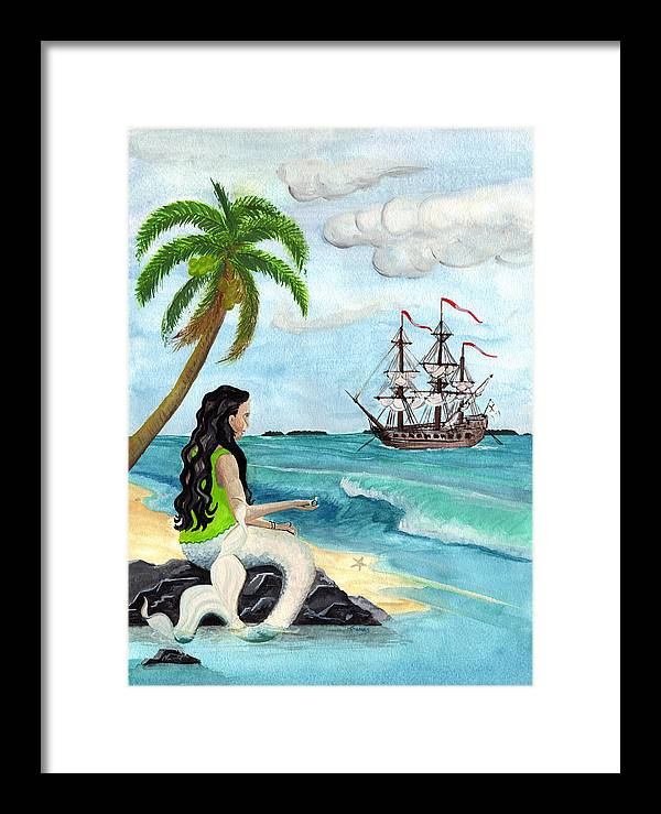 Mermaid Framed Print featuring the painting Pearl by Thomas Brendle