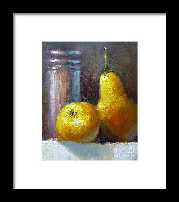 Still Life Framed Print featuring the painting Pears by Bill Dean